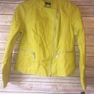 Alfani Women's Leather Moto Jacket Luxe Lime Sz PS